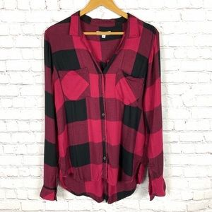 HARPER by FRANCESCAS Plaid Button Up Flannel top M